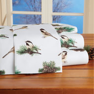 Winter Chickadees Bed Sheet Set, 4 Pc - 45258