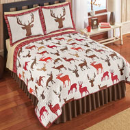 Deer Print Icons Reversible Quilt - 45276