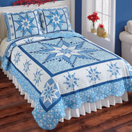 Snowflake Winter Holiday Reversible Patchwork Quilt - 45280