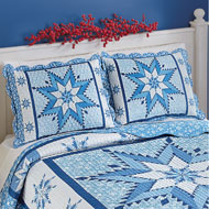Snowflake Winter Holiday Patchwork Pillow Sham - 45284