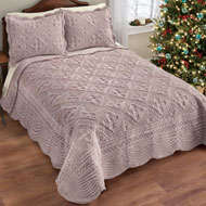 Faux Fur Quilt with Intricate Diamond Pattern - 45300
