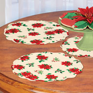 Poinsettia Quilted Cloth Placemat Set of 5 - 45315