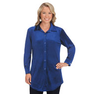 Women's Stretch Velvet Button Down Shirt - 45348