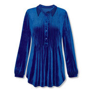 Women's Stretch Velvet Pintuck Tunic Top - 45351