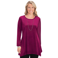 Women's Stretch Fit Velvet Tunic Top - 45354