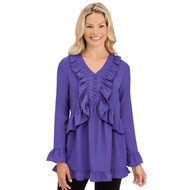 Elegant Ruffled Blouse - Flowing Trim Top - 45356