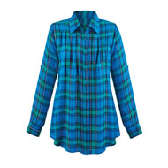 Lurex Plaid Pintuck Button Down Long Sleeve Shirt - 45358