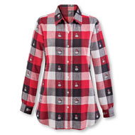 Women's Winter Snowman Plaid Cotton Shirt - 45360