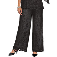 Elegant Wide Leg Lined Lace Pants - 45384