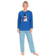 Women's Soft Fleece Cute Snowman PJ Set - 45385