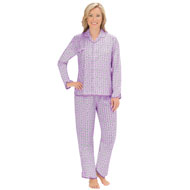 Striped Floral Print Button Front PJ Set - 45392