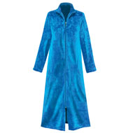 Floral Textured Fleece Zipper Front Robe - 45395