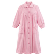 Women's Soft Plush Button Front Robe with Pockets - 45396
