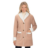 Women's Polar Fleece Faux Sherpa Lined Winter Coat - 45398