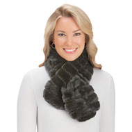 Faux Fur Pull-Through Scarf, Soft Winter Warmth - 45407