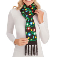 Awesome Flashing Christmas Lights Knit Scarf - 45414