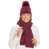 Soft Cable Knit Chenille Winter Scarf and Hat Set - 45419