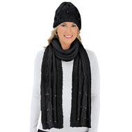 Pearl & Lurex Knit Hat & Scarf Set - 45421