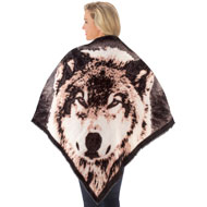Reversible Wolf Shawl with Fringe - 45422