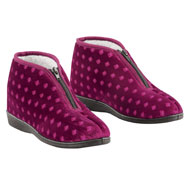 Velour Zip Front Fleece Lined Booties - 45438