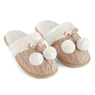 Skid-Resistant Cable Knit Pom Pom Slippers - 45443