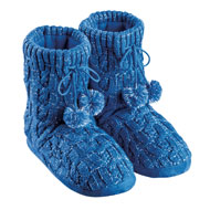 Lurex Cable Knit Slipper Boots with Fleece Lining - 45444