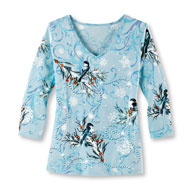 Sequined Chickadees In Winter Top with 3/4 Sleeves - 45451
