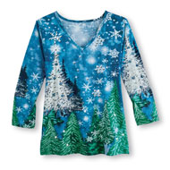 Silver and Blue Sparkle Winter Holiday Top - 45458