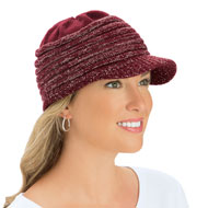 Lurex Knit Winter Brimmed Hat with Ribbed Detail - 45482