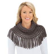 Soft Knit Infinity Scarf with Tasseled Fringe - 45488