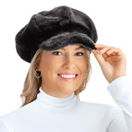 Women's Faux Fur Newsboy Winter Hat - 45540