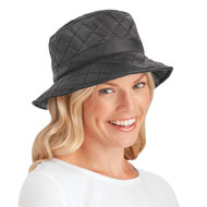 Quilted Water Resistant Rain Hat with Wide Brim - 45541