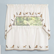 Adorable Dogs Embroidered Curtains Set, 5 Pc - 45553