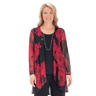 Large Floral Print Lightweight Cascade Cardigan - 45651