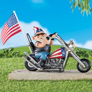 Patriotic Motion-Activated Biker Gnome Figurine - 45699
