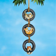 Swinging Cats in Tire Hanging Outdoor Decor - 45730