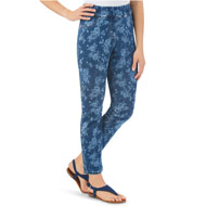 Rose Print Ankle-Length Jeans with Elastic Waist - 45737