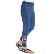 Floral Embroidered Ankle Jeans with Elastic Waistband - 45738