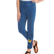Butterfly Embellished Ankle-Length Jeans - 45740