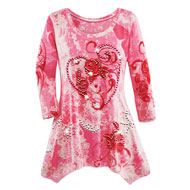 Hearts and Roses Knit Sharkbite Tunic with Sequins - 45743