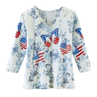Americana Heart Scroll Print Top with 3/4 Sleeves - 45745