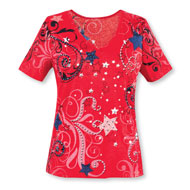 Red Stars and Scroll Top with Sparkling Sequins - 45752