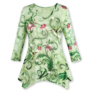 Green Hummingbird Scroll Print V-Neck, High Low Tunic