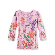 Colorful Floral Dragonfly Top with 3/4 Sleeves - 45755