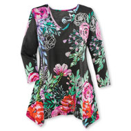 Bold Floral Abstract Tunic with 3/4 Sleeves - 45756