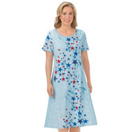 Americana Stars and Scroll Print Short-Sleeve Dress - 45767