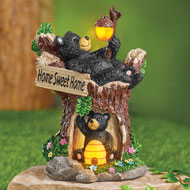 Home Sweet Home Black Bear Solar Garden Figurine - 45797