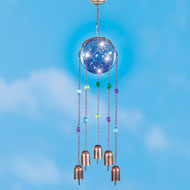 Copper-Colored Solar Beads and Bells Wind Chime