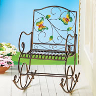 Colorful Butterfly Garden Scrolling Rocking Chair - 45816