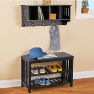 Entryway Wood Bench and Hanging Wall Shelf - 45825